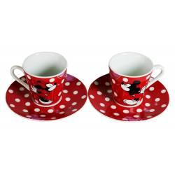 Mickey et Minnie - Set Expresso de 2 Petites Tasses à Café + Soucoupes