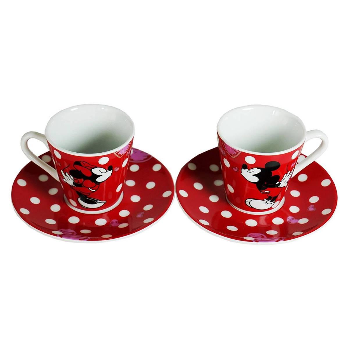 Disney - Set de 2 Petites Tasses à Café + Soucoupes - Mickey et Minnie