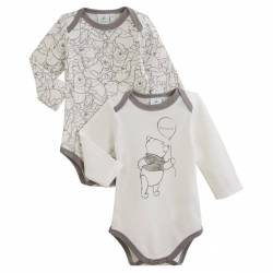 Disney Baby - Lot de 2 Bodies Manche Longue Winnie l'Ourson - Blanc et Gris