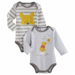 Disney Baby - Lot de 2 Bodies Manches Longues - Winnie l'Ourson - Gris 3 mois