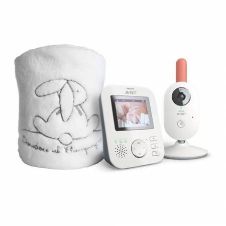 Philips Avent Nouveau Coffret ecoute bébé Vidéo - SCD620/01 + Plaid Doudou et compagnie