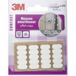 3M - 20 Amortisseurs en Mousse Antichoc - 8 x 16 mm