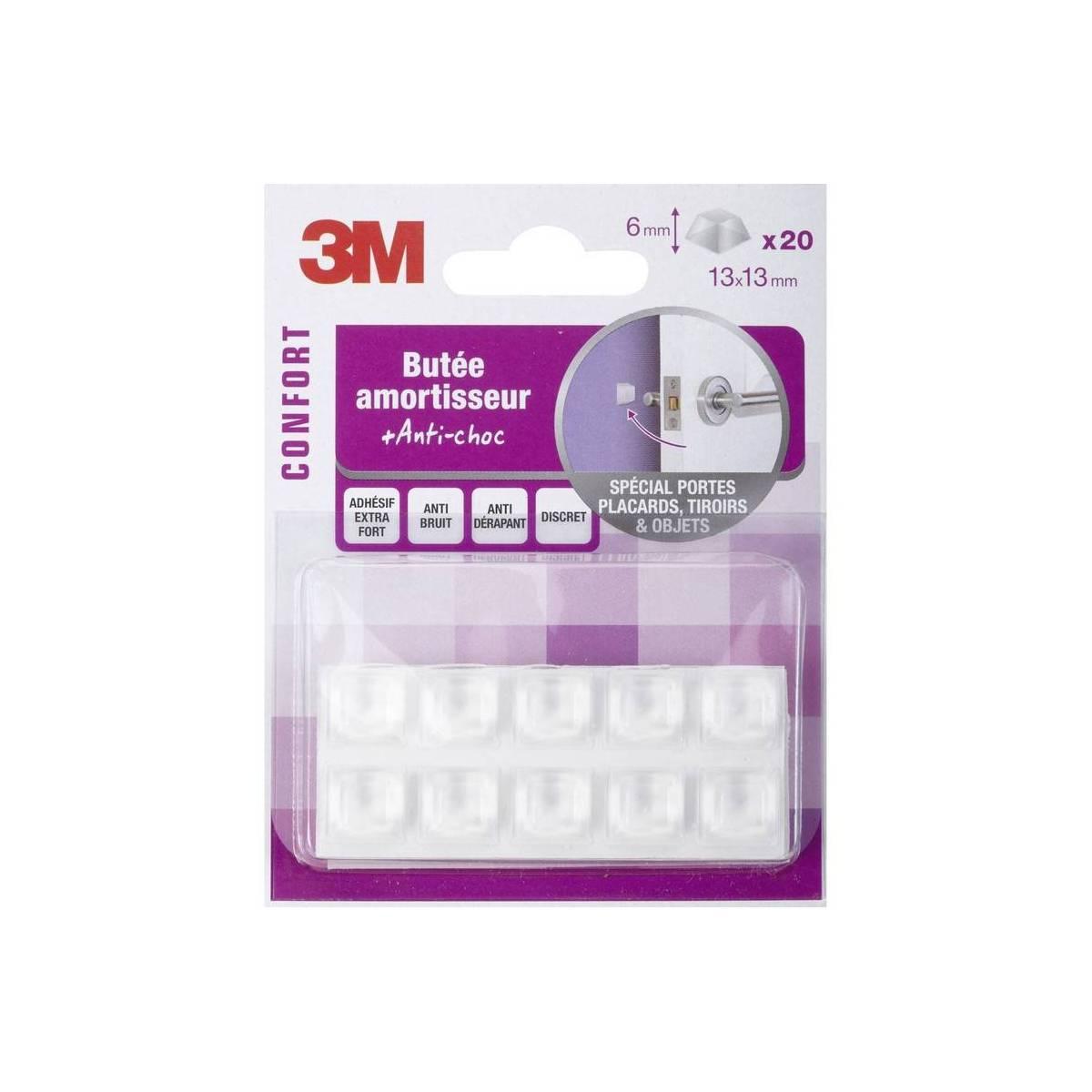 3M - 20 Amortisseurs en Plastique Antichoc - 13 x 13 mm