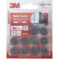 3M - 16 Patins en Feutre Super Résistant - 17 mm