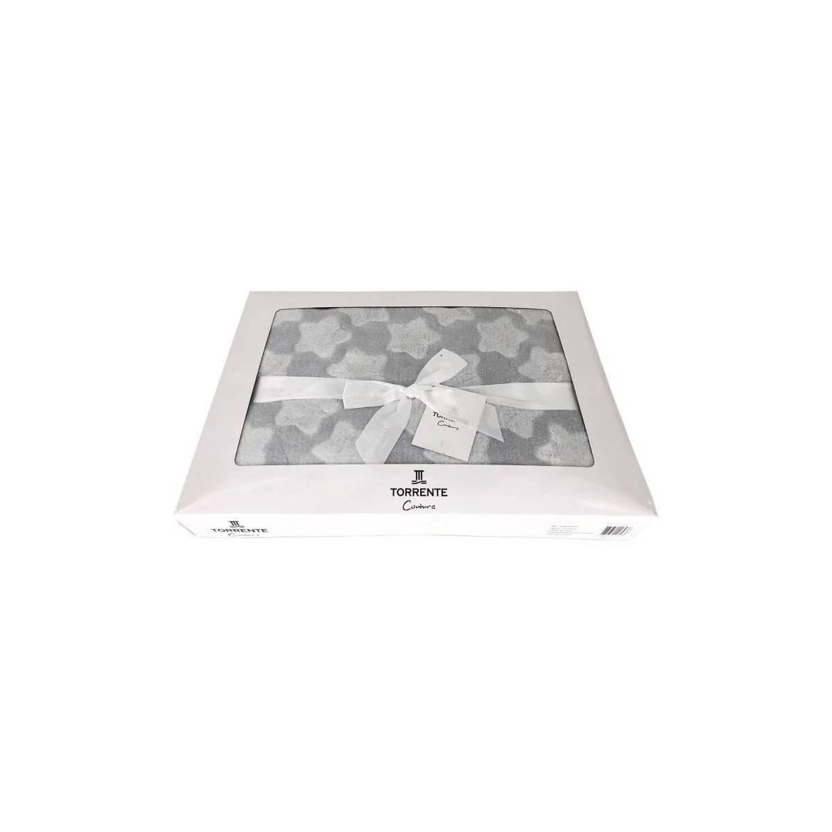 Plaid Torrente à Etoiles Effet Soyeux - Gris en boite cadeaux