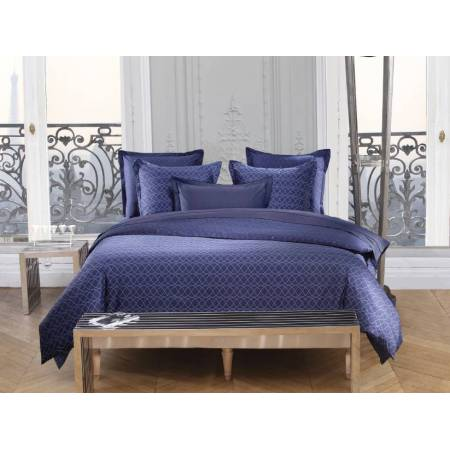 parure housse de couette azzaro 100 coton percale vagues bleu. Black Bedroom Furniture Sets. Home Design Ideas
