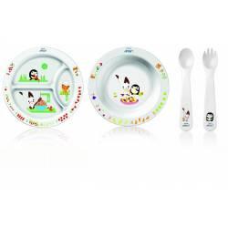 Philips AVENT - Set repas : Assiette, Bol + couverts 12 m+