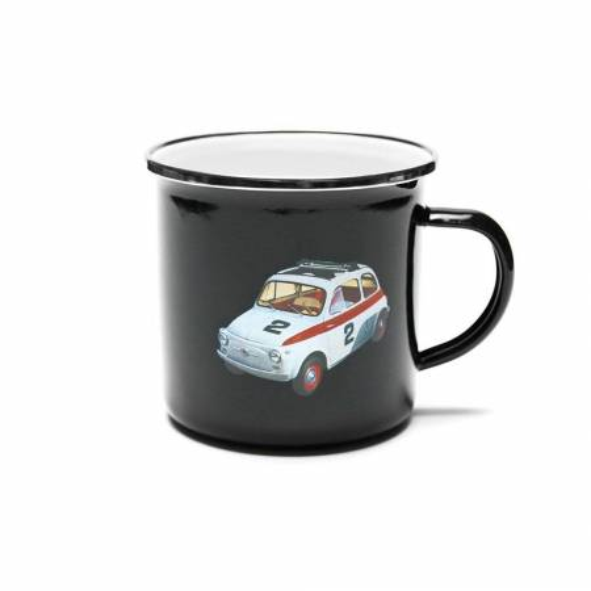 Tasse en métal Fiat 500 en émail Noir
