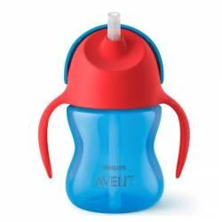 Philips Avent - Tasse à Paille Courbée Rouge et Bleu Garçon 9 mois +