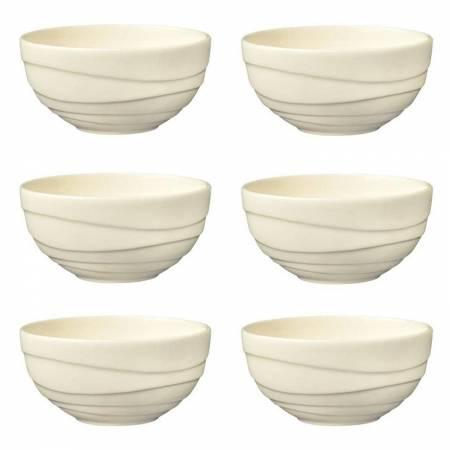 Jamie Oliver Waves Lot de 6 grands bols en porcelaine fine 13 cm