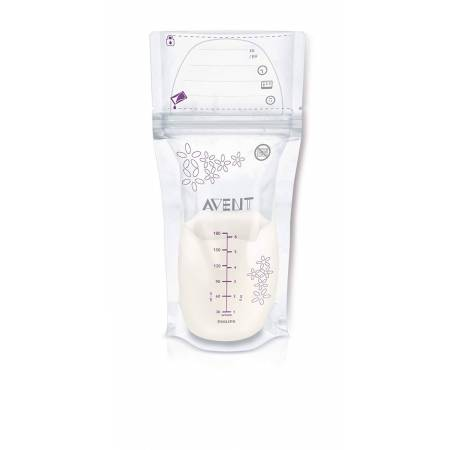 Philips Avent Lot de 50 Sachets de Conservation du Lait Maternel 180ml