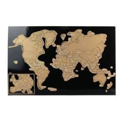 Sous-main Carte du Monde à Gratter + 12 Feuilles de Notes