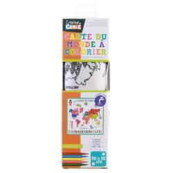 Wereldkaartkleed in kleur met zijn markeringen - 50 x 50 cm