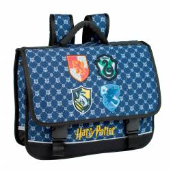 Cartable Harry Potter - 3 Compartiments Les 4 Maisons - 41 cm
