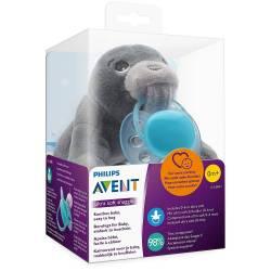 Plush Pacifier Clip Advent Seal + Pacifier 0-6 months