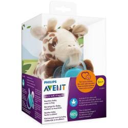 Attache Sucette Avent Peluche + Sucette Ultra Douce 0-6 mois Girafe